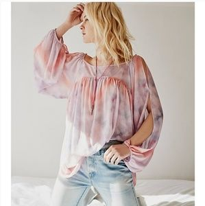 FREE PEOPLE Mystic Tie Dye Cold Shoulder Boho Top